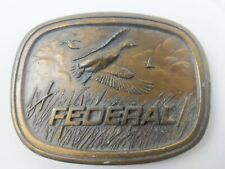 Vintage Federal Ammo Brass Belt Buckle by Indiana Metal Craft Ducks 2 3/4""