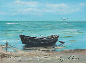 J. Litvinas Original Oil Painting 'BOAT' 8 by 6 inches