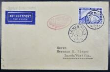 Germany 1930, $, Zeppelin, Rare Liberated Pfalz/Palatine Airship Flight Card >