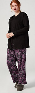 Carole Hochman 3 Piece Pyjama Set, Size S, Black/Purple, NEW