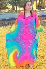 Tie Dye Caftan Poncho, Plus Size Tie Dye Dress, L XL 2X 3X Pastel