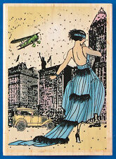 New York Diva Rubber Stamp - 1920s Flapper - Woman with Biplane and Model A