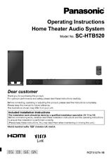 Panasonic SC-HTB520 Home Theater System Owners Instruction Manual