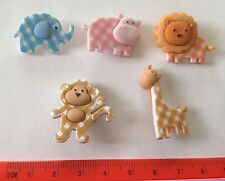Baby Animal Novelty Buttons Lot Craft Supplies 5 Checkered Animals Dress It Up