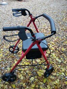 Folding Rollator 4 Wheel Walker Mobility Walking Zimmer Frame and seat