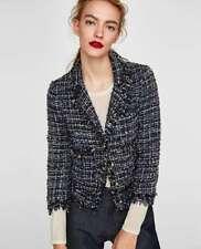 Zara $129 Embellished Tweed/Boucle Blazer Size S Navy Blue / Metallic