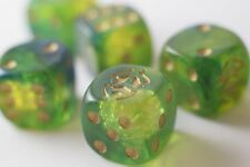 NEW 6 Green Dice with Gold Beetles Dice Set 6 Sided Bunco RPG D6 16mm Roll
