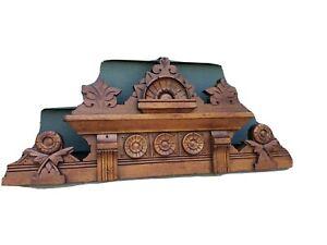 Wooden fragment antique carved pediment heavily carved walnut