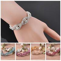 Fashion Women Bling Crystal Rhinestone Infinity Bracelet Bangle Jewelry 5Colors