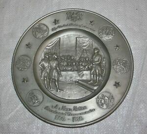 VINTAGE 1976 INTERNATIONAL PEWTER AMERICAN BICENTENNIAL COMMEMORATIVE WALL PLATE