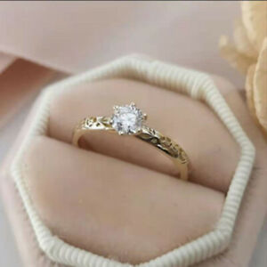 Tiny White Sapphire Gold Plated Floral Ring Band for Women Wedding Party Gift