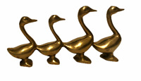 Vintage Brass Geese Figurine Four In A Row Mid Century Metal Ducks Birds