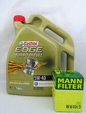 Castrol Edge Turbo Diesel 5W40 5W-40 + Filtro de Aceite Mann W610/3 Cambio
