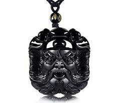 Zhong Kui natural obsidian pendant