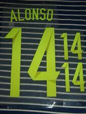 Dorsal nombre y número ALONSO #14 para camiseta España 14-15 (Desde Madrid)