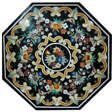 """24""""x 24"""" Black Color Decorative Marble Inlay Dining Table Top"""