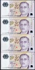 SINGAPORE SET 4 UNC 2 DOLLARS 2014-2015 NEW POLYMER W/2 DIAMONDS MATCHING NUMBER