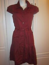 Womens Merona  Maroon belted button down shirt dress w short sleeves 2