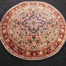 Orient Teppich China 104 x 104 cm Rund Floral Seide Braun Old Silk Carpet Rug