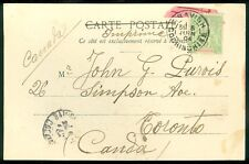 INDOCHINA : 1904 Picture Post Card to Canada with stamps on both sides.