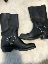 Frye Women's Black Leather Mid-Calf Harness Boots Square Toe Size 9 EUC Mint