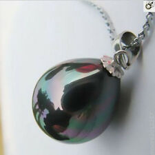 Beautiful 12X16MM peacock black south sea shell pearl pendant
