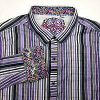 Robert Graham Purple Striped Button Up Long Sleeve Dress Shirt Mens Size 2XL XXL