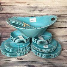 27 Tommy Bahama Melamine Dinner Salad Plate Bowls Set Turquoise Rustic Crackle