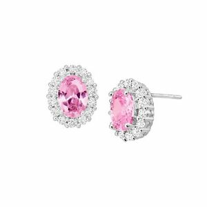 Pink & White Oval Halo Earrings with Cubic Zirconias in Rhodium-Plated Bronze