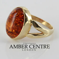 Italian Made Modern Elegant Baltic Amber Ring in 9ct Gold- GR0052  RRP £230!!!