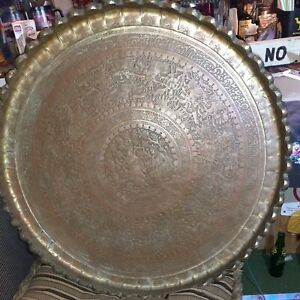 """Large 30"""" Hammered Engraved Vintage Persian Brass Tray"""