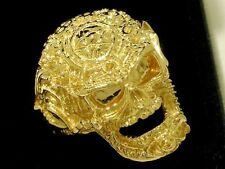 MR41 - HEAVY 9ct SOLID Gold HUGE Biker Detailed Skull Ring LARGE Ring Size Z