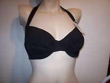 NEW 2Bamboo solid black bikini swimsuit halter bra top 34 36 DD Medium Large