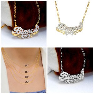 Personalized Silver & Gold Script Double Any Name Plate Necklace Free Chain