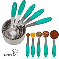 Measuring Cups and Spoons - Set of 10 - Stainless Steel, Soft Grip, Chef U