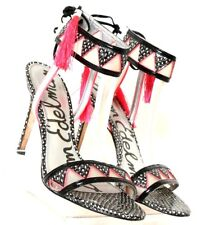 7d10b78521d Sam Edelman Sadie Blk Wht Pink T-Strap Tassel Open Toe High Heel
