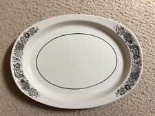 Vintage Wildwood Ironstone Serving Platter-White with Black Trim - Pre-owned