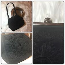 Black Eyelet Lace embroidered Black Evening Hand Bag VINTAGE Purse Prom Formal