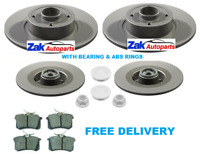 FOR RENAULT SCENIC MK2 REAR BRAKE DISCS & PADS FITTED WHEEL BEARINGS ABS RINGS