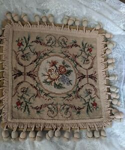 Aubusson Pillow Cover Wool and Velvet With Acorn  Tassels