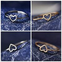 2 Pcs Heart Shape Hollow-out Ring Silver/Gold Letter Rings Gifts Size 6-10 New