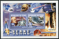 Chad 2013 MNH Jules Verne 2v Deluxe M/S Writers Ships Octopus Fish People Stamps