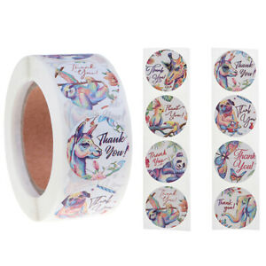 500Pcs/Roll Thank You Stickers Animal Diy Seal Label Handmade Envelope Sticker