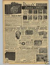 1942 PAPER AD Univex Corsair I II Candid Camera Detrola Zenith