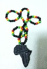 New Wood Necklace African Map Continent Wooden Bead Chain Black/Red/Green/yellow