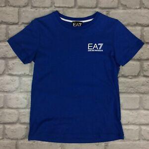 EA7 EMPORIO ARMANI BOYS BLUE CORE LOGO T-SHIRT TEE SHORT SLEEVE CHILDRENS AD