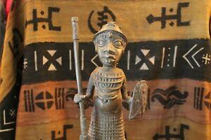 "Arts of Africa - Bronze Palace Guard - Benin - Nigeria - 19"" H X 6' W #1 STRG"