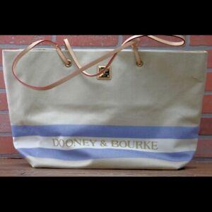 *Dooney & Bourke Large Canvas Tote-Tan w Blue Purse Bag