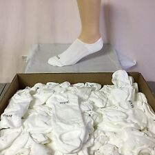 New USA Hue Bulk Loose Low Cut No Show Socks Large White/Grey 100 Pair #731JJ