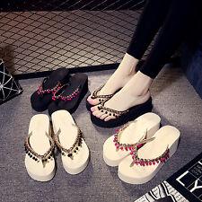 New Summer Women Wedge Platform  Beads Flip Flops Shoes Sandal Beach Slipper